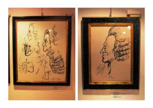 """Due """"chine su carta"""" di Renato Guttuso nella sala delle esposizioni delle opere"""