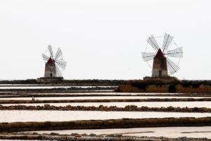 """I mulini delle """"Saline della Laguna"""" sul litorale che collega Trapani con Marsala."""