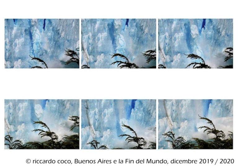 """La sequenza del crollo di una delle guglie del ghiacciaio Perito Moreno dal punto di vista sulla """"Penisola de Magallanes"""""""